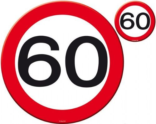 Traffic Sign 60th Party Place Mat & Coasters Birthday Tableware Table Disposable
